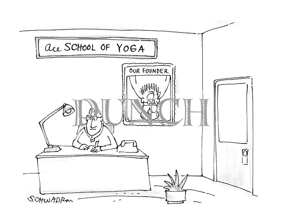(Reception of a school of yoga where the portrait of the founder shows him upside down)