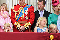 Prince George, Savannah and Ilsa Phillips<br /> on the balcony of Buckingham Palace during Trooping the Colour on The Mall, London. <br /> <br /> <br /> &copy;Ash Knotek  D3283  17/06/2017