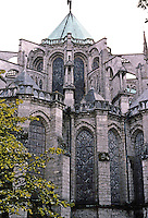 Chartres: Chartres Cathedral--ambulatory buttresses, northwest angle. Photo '87.