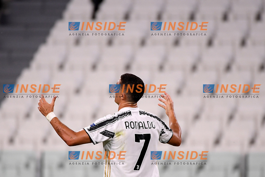 Cristiano Ronaldo of Juventus looks dejected during the Champions League round of 16 second leg football match between Juventus FC and Lyon at Juventus stadium in Turin (Italy), August 7th, 2020. <br /> Photo Federico Tardito / Insidefoto
