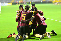 IBAGUE - COLOMBIA, 23-03-2019: Los jugadores de Deportes Tolima celebran el gol anotado a Unión Magdalena, durante partido entre Deportes Tolima y Unión Magdalena de la fecha 11 de la Liga Águila I 2019, jugado en el estadio Manuel Murillo Toro de la ciudad de Ibague. / The players of Deportes Tolima celebrate a scored goal to Union Magdalena, during a match between Deportes Tolima and Union Magdalena of the 11th date for the Aguila League I 2019, played at Manuel Murillo Toro stadium in Ibague city. Photo: VizzorImage / Juan Carlos Escobar / Cont.