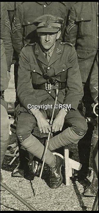 BNPS.co.uk (01202 558833)<br /> Pic: RSM/BNPS<br /> <br /> AA Milne at Portsmouth Garison Signalling School, 1917.<br /> <br /> A book of writings co-authored by AA Milne colourfully reflecting on his time spent as a First World War propagandist is being displayed for the first time ever. <br /> <br /> 'The Green Book' was written by the Winnie the Pooh author and fellow members of MI7b - a little-known intelligence branch of the War Office that produced propaganda. <br /> <br /> When the war ended officials attempted to destroy all traces of the secret department but four years ago 150 documents were unearthed inside the attic of one of its members. <br /> <br /> Now the ultra-rare copy, which is one of only two that exist, has been placed on display at the Royal Signals Museum in Blandford, Dorset.