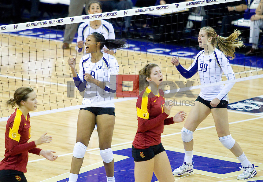 Kylin Muñoz, Summer Ross, Lauren Barfield  The University of Washington women's volleyball team plays USC Trojans at Alaska Airlines Arena at the University of Washington in Seattle on Friday September 16, 2011. (Photography By Scott Eklund/Red Box Pictures)