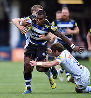 Semesa Rokoduguni of Bath Rugby takes on the Exeter Chiefs defence. Aviva Premiership match, between Bath Rugby and Exeter Chiefs on October 17, 2015 at the Recreation Ground in Bath, England. Photo by: Patrick Khachfe / Onside Images