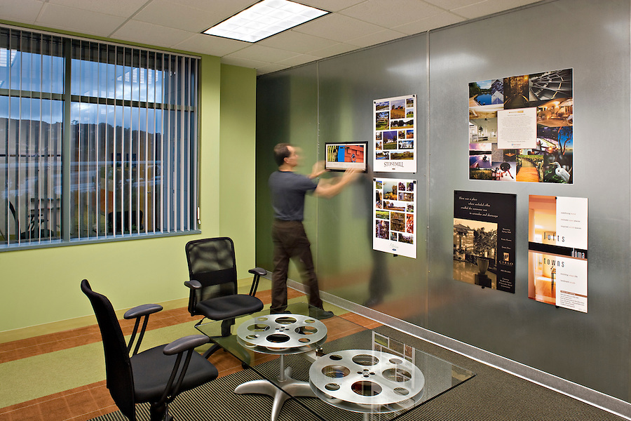 Facility Solutions - Roni Hicks<br /> Facility Solutions provided the interior design for the Roni Hicks advertising agency in 2007 using playful color and a mix of textures to convey a creative environment.
