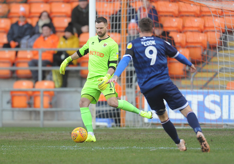 Blackpool's Mark Howard under pressure from Walsall's Andy Cook<br /> <br /> Photographer Kevin Barnes/CameraSport<br /> <br /> The EFL Sky Bet League One - Blackpool v Walsall - Saturday 9th February 2019 - Bloomfield Road - Blackpool<br /> <br /> World Copyright &copy; 2019 CameraSport. All rights reserved. 43 Linden Ave. Countesthorpe. Leicester. England. LE8 5PG - Tel: +44 (0) 116 277 4147 - admin@camerasport.com - www.camerasport.com