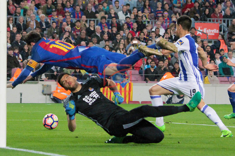League Santander 2016/2017. Game: 32.<br /> FC Barcelona vs Real Sociedad: 3-2.<br /> Lionel Messi vs Rulli.