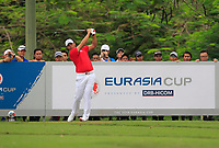 Gavin Green (Asia) on the 15th tee during the Singles Matches of the Eurasia Cup at Glenmarie Golf and Country Club on the Sunday 14th January 2018.<br /> Picture:  Thos Caffrey / www.golffile.ie