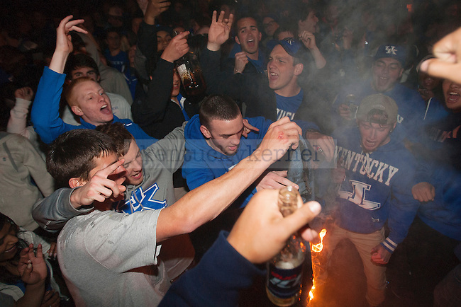UK fans celebrate UK's win over Wisconsin in Lexington , Ky.,on Saturday, April 5, 2014. Photo by Michael Reaves | Staff