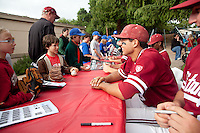 STANFORD, CA - April 23, 2011: Kenny Diekroeger of Stanford baseball talks to a fan during an autograph signing after Stanford's game against UCLA at Sunken Diamond. Stanford won 5-4.