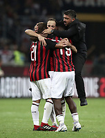 Calcio, Serie A: AC Milan - AS Roma, Milano stadio Giuseppe Meazza (San Siro) 31 agosto 2018. <br /> AC Milan's coach Gennaro Gattuso (r) celebrates with his players after winning 2-1 the Italian Serie A football match between Milan and Roma at Giuseppe Meazza stadium, August 31, 2018. <br /> UPDATE IMAGES PRESS/Isabella Bonotto
