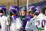 UAlbany Men's Lacrosse defeats Stony Brook on March 31 at Casey Stadium.  Halftime talk by Albany coach Scott Marr.