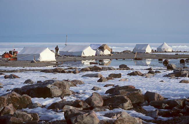 An Inuit summer camp on Jens Munk Island near Igloolik, Nunavut, Canada