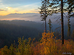 Idaho, North, Coeur d'Alene. An autumn view at dawn over the Coeur d'Alene National Forest near 4th of July pass.