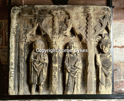 The Shrine, Shrewsbury Abbey, Shrewsbury, Shropshire. UK. Rhis medieval carving ddisplayed in the Abbey Church of St Peter and St Paul probably shows, from left to right, John the Baptist, St Winefride, and Saint Beuno. Celtic Britain published by Orion