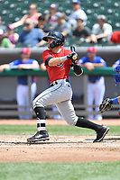 Birmingham Barons shortstop Danny Mendick (2) swings at a pitch during a game against the Tennessee Smokies at Smokies Stadium on May 6, 2018 in Kodak, Tennessee. The Smokies defeated the Barons 6-2. (Tony Farlow/Four Seam Images)