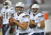 Aug 25, 2007; Glendale, AZ, USA; San Diego Chargers quarterback Philip Rivers (17) and quarterback Charlie Whitehurst (6) warm up prior to the game against the Arizona Cardinals at University of Phoenix Stadium. Mandatory Credit: Mark J. Rebilas-US PRESSWIRE Copyright © 2007 Mark J. Rebilas
