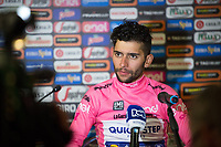 ITALIA. 07-05-2017. Fernando Gaviria -Col- (Quick-Step Floors) durante la  rueda de prensa realizada despu&eacute;s de ganar la etapa 3 entre Tortoli' a Cagliari con 148 kms de la versi&oacute;n 100 del Giro de Italia hoy 07 de mayo de 2017. / Fernando Gaviria -Col- (Quick-Step Floors) during press copnference after winning the stage 3 between Tortoli 'to Cagliari with 148 kms of the 100 version of the Giro d'Italia today 07 May 2017 Photo: VizzorImage/ Massimo Paolone / LaPresse<br /> VizzorImage PROVIDES THE ACCESS TO THIS PHOTOGRAPH ONLY AS A PRESS AND EDITORIAL SERVICE AND NOT IS THE OWNER OF COPYRIGHT; ANOTHER USE HAVE ADDITIONAL PERMITS AND IS  REPONSABILITY OF THE END USER
