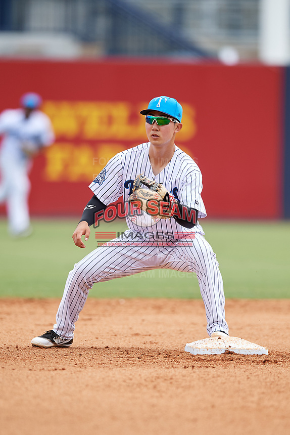 Tampa Tarpons second baseman Hoy Jun Park (1) waits to receive a throw during a game against the Lakeland Flying Tigers on April 8, 2018 at George M. Steinbrenner Field in Tampa, Florida.  Lakeland defeated Tampa 3-1.  (Mike Janes/Four Seam Images)