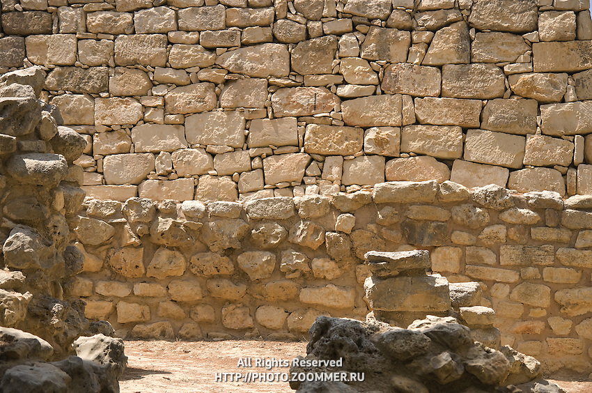 Close-up of the stonewall ruins of Knossos palace