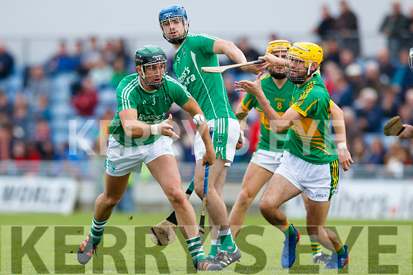 Padraig O'Grady Ballyduff in action against John Buckley (C) Lixnaw in the Senior County Hurling Final in Austin Stack Park on Sunday