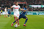 15.04.2019, RheinEnergieStadion, Koeln, GER, 2. FBL, 1.FC Koeln vs. Hamburger SV ,<br />  <br /> DFL regulations prohibit any use of photographs as image sequences and/or quasi-video<br /> <br /> im Bild / picture shows: <br /> Jonas Hector (FC Koeln #14),  im Zweikampf gegen  Gideon Jung (HSV #28), <br /> <br /> Foto © nordphoto / Meuter