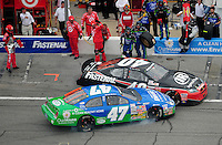 Feb 9, 2008; Daytona, FL, USA; ARCA RE/MAX Series driver Brad Baker (47) collides with Dario Franchitti (40) on pit road during the ARCA 200 at Daytona International Speedway. Mandatory Credit: Mark J. Rebilas-US PRESSWIRE