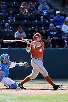 Kacy Clemens (42) of the Texas Longhorns bats against the UCLA Bruins at Jackie Robinson Stadium on March 12, 2016 in Los Angeles, California. UCLA defeated Texas, 5-4. (Larry Goren/Four Seam Images)