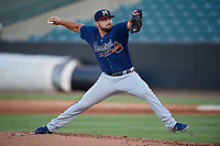 Mississippi Braves pitcher Josh Graham (27) during a Southern League game against the Jackson Generals on July 23, 2019 at The Ballpark at Jackson in Jackson, Tennessee.  Mississippi defeated Jackson 1-0 in the second game of a doubleheader.  (Mike Janes/Four Seam Images)