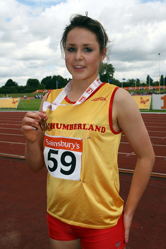 Photo: Rich Eaton/Sportsbeat Images.....Sainsbury's English Schools Track and Field Championships, Birmingham. 14/07/2007. Junior girls 75m hurdles winners, gold Rebecca Liddell of Northumberland.