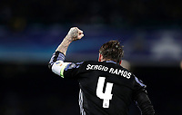 Football Soccer: UEFA Champions League Round of 16 second leg, Napoli-Real Madrid, San Paolo stadium, Naples, Italy, March 7, 2017. <br /> Real Madrid's Sergio Ramos celebrates after scoring his second goal during the Champions League football soccer match between Napoli and Real Madrid at the San Paolo stadium, 7 March 2017. <br /> Real Madrid won 3-1 to reach the quarter-finals.<br /> UPDATE IMAGES PRESS/Isabella Bonotto