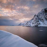 Winter sunset at Å, Moskenesøy, Lofoten Islands, Norway