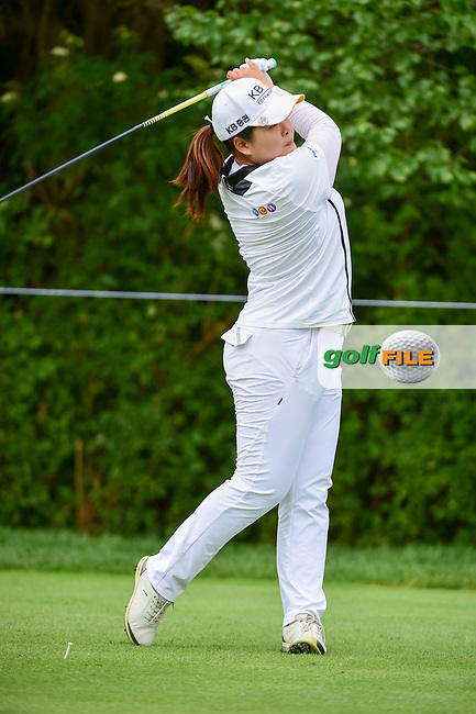 Inbee Park (KOR) watches her tee shot on 11 during Thursday's round 1 of the 2017 KPMG Women's PGA Championship, at Olympia Fields Country Club, Olympia Fields, Illinois. 6/29/2017.<br /> Picture: Golffile | Ken Murray<br /> <br /> <br /> All photo usage must carry mandatory copyright credit (&copy; Golffile | Ken Murray)