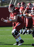 NWA Democrat-Gazette/ANDY SHUPE<br /> Arkansas offensive lineman Frank Ragnow moves through a drill Tuesday, March 28, 2017, during spring practice at the UA practice facility in Fayetteville.
