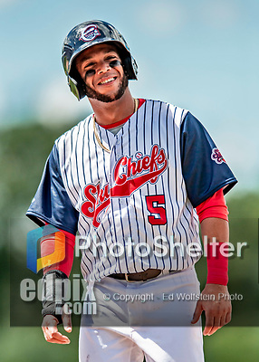 22 July 2018: Syracuse SkyChiefs outfielder Yadiel Hernandez smiles at first during a game against the Louisville Bats at NBT Bank Stadium in Syracuse, NY. The Bats defeated the Chiefs 3-1 in AAA International League play. Mandatory Credit: Ed Wolfstein Photo *** RAW (NEF) Image File Available ***