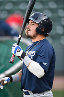 Catcher Jay Jabs (21) of the Columbia Fireflies takes batting practice before a game against the Greenville Drive on Wednesday, April 18, 2018, at Fluor Field at the West End in Greenville, South Carolina. Columbia won 8-4. (Tom Priddy/Four Seam Images)