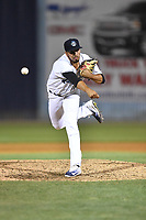 Asheville Tourists pitcher Justin Lawrence (27) delivers a pitch during a game against the Greensboro Grasshoppers at McCormick Field on April 28, 2017 in Asheville, North Carolina. The Grasshoppers defeated the Tourists 3-2. (Tony Farlow/Four Seam Images)