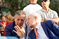 """Judge Nino Di Matteo & Judge Ferdinando Imposimato.<br />  <br /> Palermo (Sicily - Italy), 19/07/2017. """"Basta depistaggi e omertà di Stato!"""" (""""Stop disinformation & omertá by the State!"""")(1). Public event to commemorate the 25th Anniversary of the assassination of the anti-mafia Magistrate Paolo Borsellino along with five of his police """"scorta"""" (Escorts from the special branch of the Italian police force who protect Judges): Agostino Catalano, Emanuela Loi (The first Italian female member of the police special branch and the first woman of this branch to be killed on duty), Vincenzo Li Muli, Walter Eddie Cosina and Claudio Traina. The event was held at Via D'Amelio, the road where Borsellino was killed. Family members of mafia victims, amongst others, made speeches about their dramatic experiences, mafia violence and unpunished crimes, State cover-ups, silence ('omertá'), and misinformation. Speakers included, amongst others, Vincenzo Agostino & Augusta Schiera, Salvatore & Cristina Catalano, Graziella Accetta, Massimo Sole, Paola Caccia, Luciano Traina, Angela Manca, Stefano Mormile, Ferdinando Imposimato, Judge Nino Di Matteo. The event ended with the screening of the RAI docu-fiction, 'Adesso Tocca A Me' ('Now it's My Turn' - Watch it here: http://bit.ly/2w3WJUX ).<br /> <br /> For more info & a video of the event please click here: http://bit.ly/2eQfNT3 & http://bit.ly/2eQbmrj & http://19luglio1992.com & http://bit.ly/2he8hCj<br /> <br /> (1) 'Omerta' is the term used in Italy to refer to the code of silence used by mafia organisations, as well as the culture of silence that is entrenched in society at large (especially among victims of mafia crimes, as they fear recriminations), about the existence of organised crime and its activities."""
