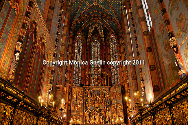The wooden altar in St. Mary's Basilica in Krakow, Poland which is said to be the largest Gothic altar in the world and took 12 years to make. St. Mary's Basilica sits on the Main Market Square, and was first built in the 13th century