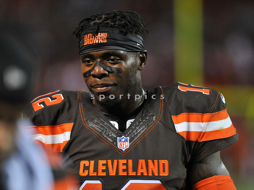 CLEVELAND, OH - SEPTEMBER 1, 2016: Wide receiver Josh Gordon #12 of the Cleveland Browns walks off the field at halftime of a game on September 1, 2016 against the Chicago Bears Cleveland Browns at FirstEnergy Stadium in Cleveland, Ohio. Chicago won 21-7. (Photo by: 2016 Nick Cammett/Diamond Images)  *** Local Caption *** Josh Gordon