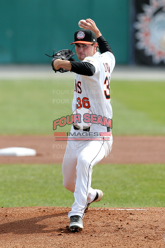 Hagerstown Suns starting pitcher Brian Dupra #36 delivers a pitch during a game against the Lexington Legends at Municipal Park on April 11, 2012 in Hagerstown, Maryland.  Lexington defeated Hagerstown 3-0.  (Mike Janes/Four Seam Images)
