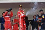 May 28th 2017, Monaco; F1 Grand Prix of Monaco Race Day; Podium shot of Sebastian Vettel - Scuderia Ferrari wins the Monaco GP followed by his team mate Kimi Raikkonen and then Daniel Ricciardo - Red Bull Racing