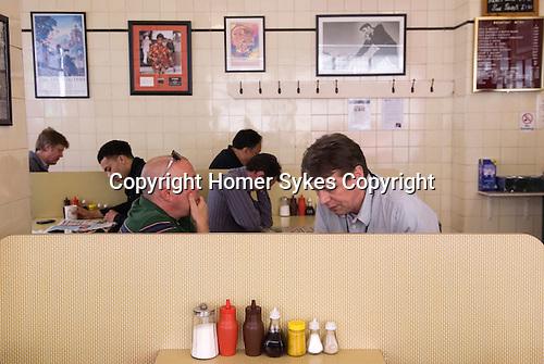Cafe sauce bottles. Regency Café Westminster London SW1 UK.