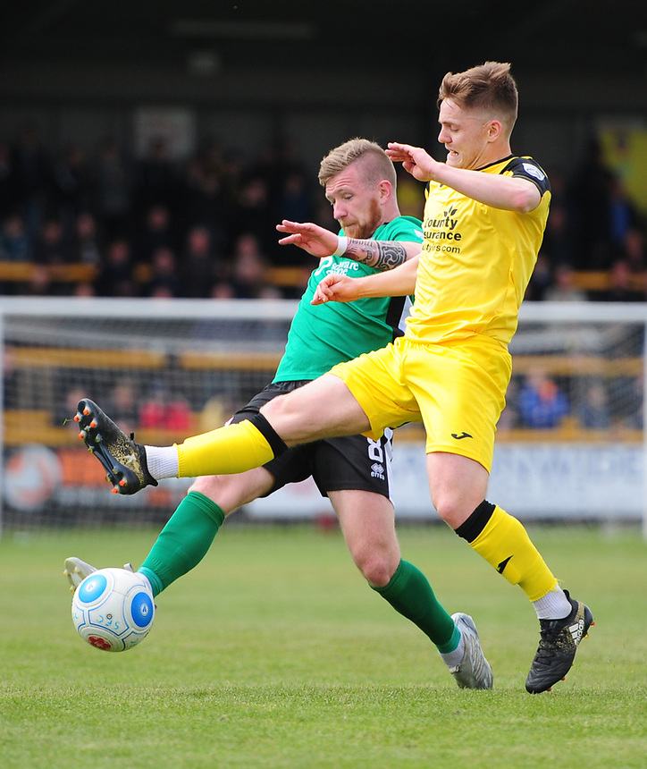 Lincoln City's Alan Power vies for possession with Southport's Declan Weeks<br /> <br /> Photographer Chris Vaughan/CameraSport<br /> <br /> Vanarama National League - Southport v Lincoln City - Saturday 29th April 2017 - Merseyrail Community Stadium - Southport<br /> <br /> World Copyright &copy; 2017 CameraSport. All rights reserved. 43 Linden Ave. Countesthorpe. Leicester. England. LE8 5PG - Tel: +44 (0) 116 277 4147 - admin@camerasport.com - www.camerasport.com