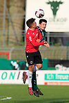 26.10.2019, Stadion Lohmühle, Luebeck, GER, Regionalliga Nord VFB Lübeck/Luebeck vs Hannover 96 II <br /> <br /> DFB REGULATIONS PROHIBIT ANY USE OF PHOTOGRAPHS AS IMAGE SEQUENCES AND/OR QUASI-VIDEO.<br /> <br /> im Bild / picture shows<br /> Zweikampf/Kopfball. Kopfballduell zwischen Justin Neiß/Neiss (Hannover 96 II) und Sven Mende (VfB Luebeck)<br /> <br /> Foto © nordphoto / Tauchnitz