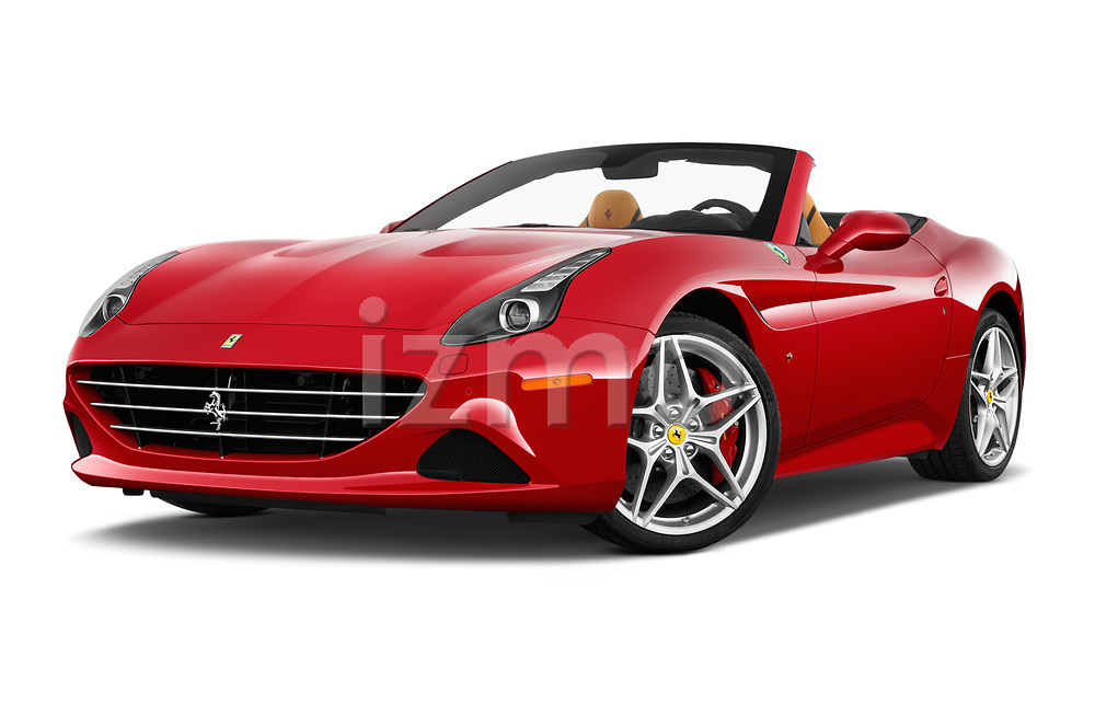 Stock pictures of low aggressive front three quarter view of 2016 Ferrari California-T 2 Door Convertible Low Aggressive