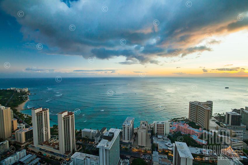 An aerial view of Waikiki at dusk, Honolulu, O'ahu.