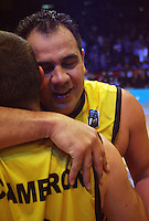 Waikato captain Pero Cameron hugs brother Ray after the win during game two of the NBL Final basketball match between the Wellington Saints and Waikato Pistons at TSB Bank Arena, Wellington, New Zealand on Friday 20 June 2008. Photo: Dave Lintott / lintottphoto.co.nz