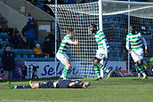 17th March 2019, Dens Park, Dundee, Scotland; Ladbrokes Premiership football, Dundee versus Celtic; Odsonne Edouard of Celtic celebrates after scoring the only goal of the game in the 96th minute with James Forrest