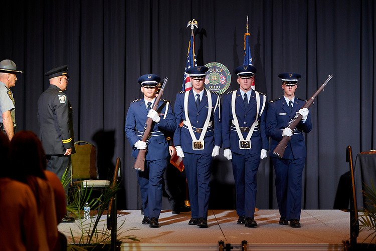 Ohio University ROTC presents the colors.